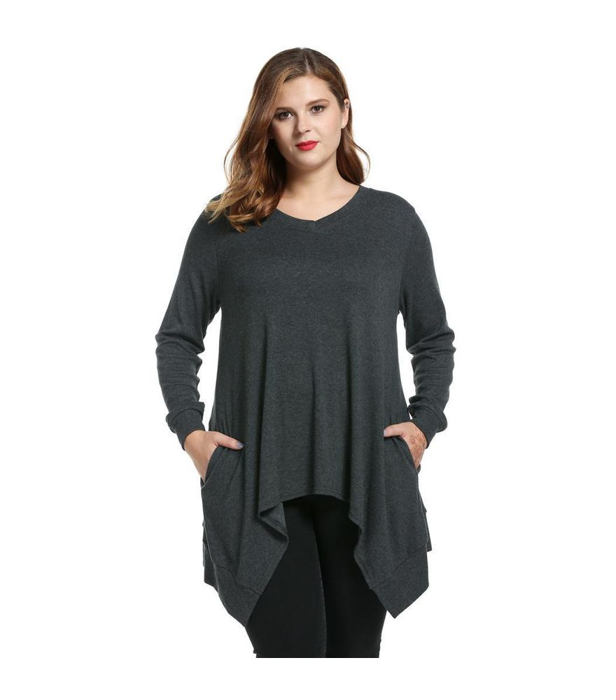 97645c3b068 Women Casual Loose Fit V-Neck Long Sleeve Solid Asymmetrical T ...